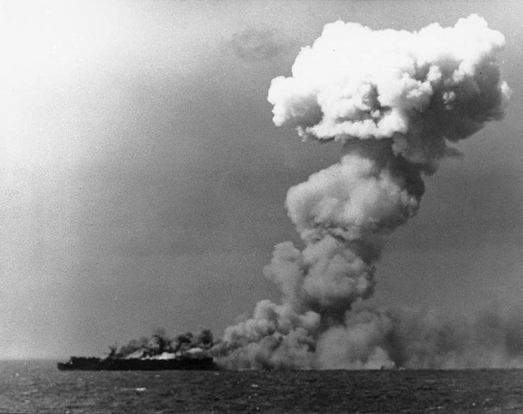 The U.S. carrier Princeton burning after a bomb hit